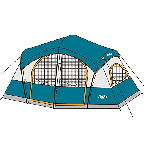 UNP Tents for Camping with 1 Mesh Door & 5 Large Mesh Windows 14' x 14' x78in - 8 Person Tent...