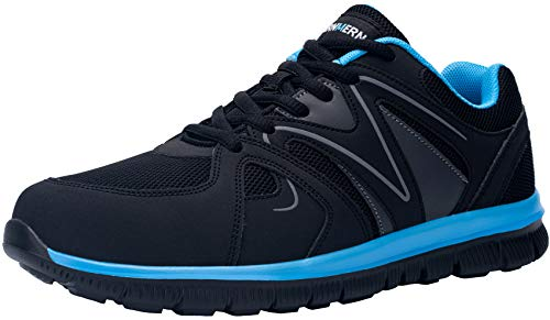 LARNMERN Zapatos de Mujer Seguridad de Acero Ligeras Calzado de Trabajo para Comodas Zapatos de Industria y Construcción(Azul Negro,39)