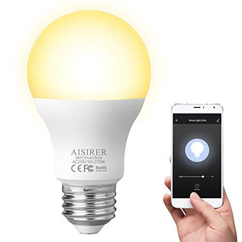 AISIRER Bombilla Inteligente Bombillas LED WiFi 9W 806LM Compatible con Amazon Alexa Echo Google Home E27 Luz Cálida 2700K Regulable No se Requiere Hub Una bombilla