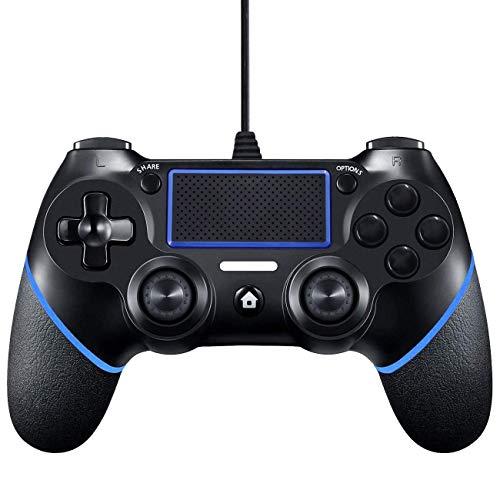 Mandos PS4,Mando para PS4,Controlador PS4,Controlador De Juegos Con Cable Mando para PS4/Pro/Slim/PC Gamepad Controlador Joystick con Vibración Doble Remoto,Agarre Antideslizante y Cable USB De 1,5 m