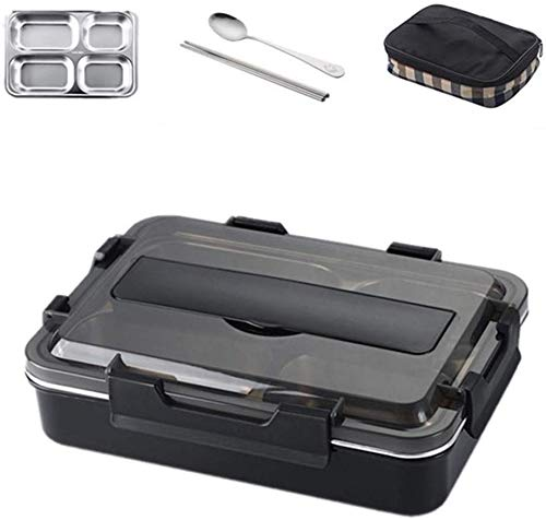 Pkfinrd Lunch BoxStainless Steel Lunch Box met lepel Lekvrij Bento Box Bestek Set Magnetron Oven Volwassen Kinderen Voedsel Container Groot Zwart met Tas