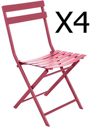 PEGANE Lot de 4 chaises Pliantes en Acier Coloris Cerise - Dim : L52 x l42 x H80 cm