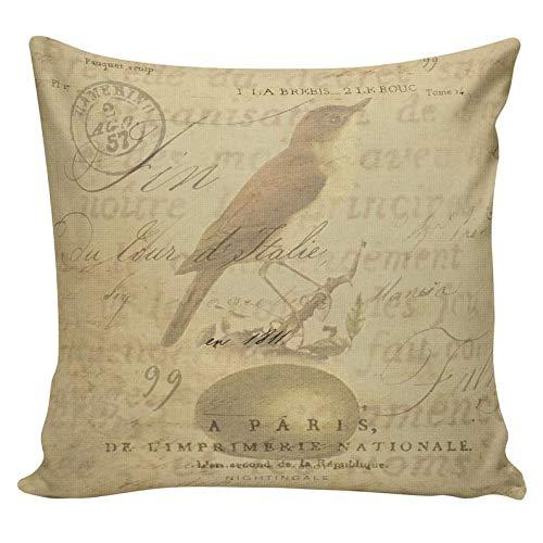 Yor242len Funda de almohada de algodón de arpillera con diseño de pájaro, estilo vintage francés