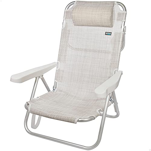 Aktive 53975 - Silla reclinable de playa, Silla multiposición, 5 posiciones, altura del asiento 21 cm, 60x47x83 cm, con asa de transporte, color beige, Aktive Beach