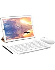 Tablet 10 pollici YESTEL Tablet Android 10.0 con 4 GB RAM + 64 GB ROM - WiFi | Bluetooth | GPS, 8000 mAH, con mouse | Tastiera e Cover-Dorato