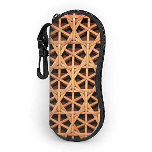 IUBBKI Wicker Woven Grid Eyeglass Case For Women And Men,Portable Sunglasses Soft Case With Carabiner