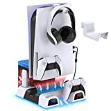 Cooling Stand for PS5 with Controller Charger, MENEEA Vertical Charging Station with Cooling Fan for PS5 Disc&Digital Editions Console, 1 Headset Hanger, 10 Game Slots, Accessories Storage Organizer