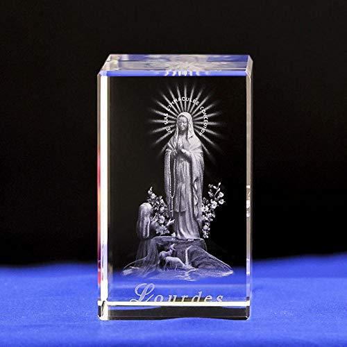 GYBYB Luz de noche grabada con cristal de la Virgen María con base de luz de 4 colores cambiantes Grabado con láser 3DMary Souvenirs Crafts