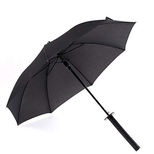 NJSDDB paraplu Stijlvolle Zwarte Japanse Ninja Zwaard Katana Paraplu Zonnig & Regenachtig Lange handgreep Paraplu's Semi-automatische 8, 16 of 24 Ribs, 8 kg.