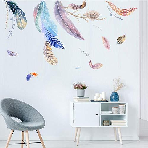 Wandaufkleber Schwebendes Federvogelnest Hintergrundwanddekorationsaufkleber Des Sofa-Fernsehgeschäfts