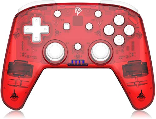 ZLZ Encargarse de Controladores, Controlador inalámbrico con Seis Ojos Funcionan y Doble vibración, inalámbrico Recargable Gamepad Controlador de Joystick Remoto Gamepad Flexible (Color : Red)
