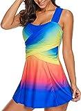 LOSRLY Womens Multicolor Rainbow Wrap Front Plus Size Swimsuit Tankini Swim Top with Boyshorts 2 Pcs Swimwear Tummy Control Color-5 L 12 14