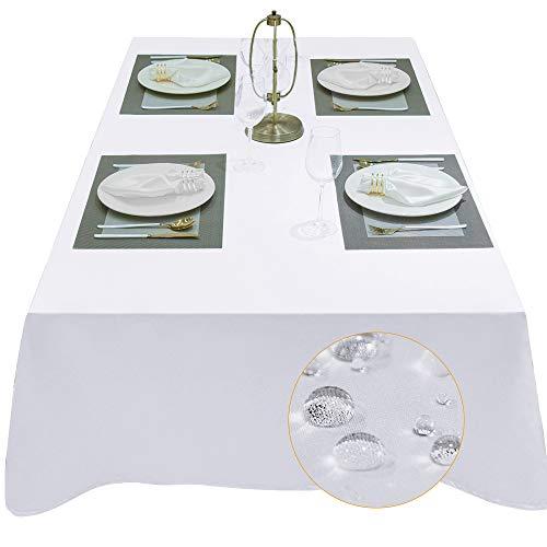 Balcony&Falcon Tischdecke Eckig Wasserdicht Tischdecke Satin Tischtuch abwaschbar Tischtuch Leinen Tischläufer Tischwäsche Eckig (Weiß, 140 x 240 cm)