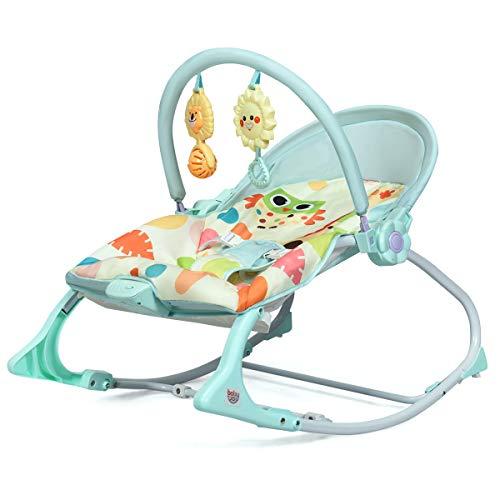COSTWAY Babywippe mit 3 Liegepositionen und Vibrationsfunktion, Baby Schaukelstuhl mit Musik und Spielbogen, Babyschaukel grün