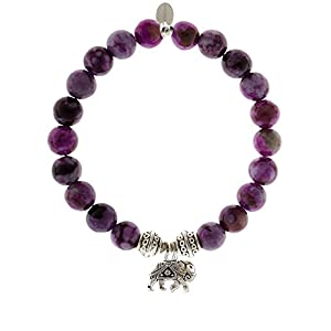 Sugilite Gemstone Beaded Bracelet Elephant Charm
