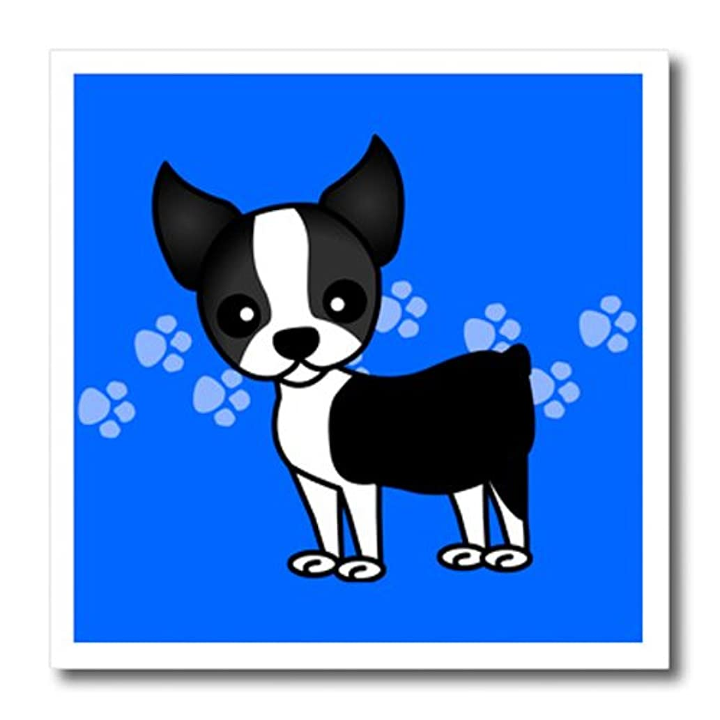 3dRose ht_12085_2 Cute Boston Terrier Blue Pawprint Background Iron on Heat Transfer, 6 by 6-Inch