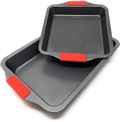 Rollsnownow Set von 2 Braten von Backdosen-Tabletts - Nicht-Stock-Röst-Ofen-Back-Tabellen-Tabletts - Röstpfanne - emaillierter Stahl