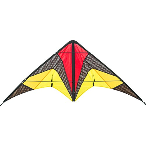 HQ 11234660 - Quickstep II Graphite Lenkdrachen Zweileiner, ab 10 Jahren, 60x135cm, inkl. 20kp Polyesterschnur 2x20m auf Winder, 2-5 Beaufort