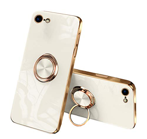 通用 Funda para iPhone 7/8 Apple,Fundas iPhone 7/8 Silicona TPU Compatible Case Soporte Armor Antigolpes Carcasa con Posterior Magnético Iman (iPhone 7, Blanco lechoso)