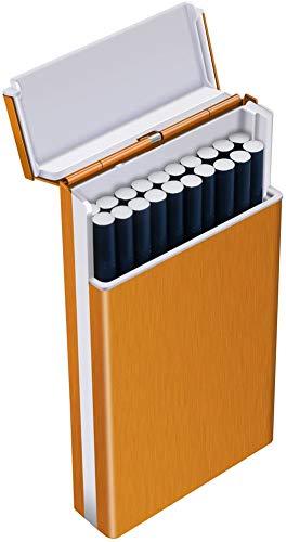Tenfel メンズシガレットケース スリム 100mm ロング タバコ 20本収納可 軽量 頑丈 タバコケース ゴールド 夏場 汗 対策 ワンタッチ開き 人気なギフト