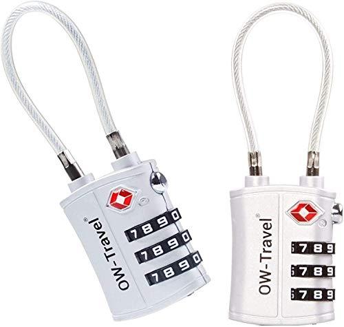 OW-Travel Lucchetto de Cable a Combinazione TSA a 3 cifre per Valigie e Bagagli da Viaggio per Armadietto Valigia Viaggio Aereo Bagaglio Borse Trolley USA y Palestra (Lucchetti Serrature Argento 2)