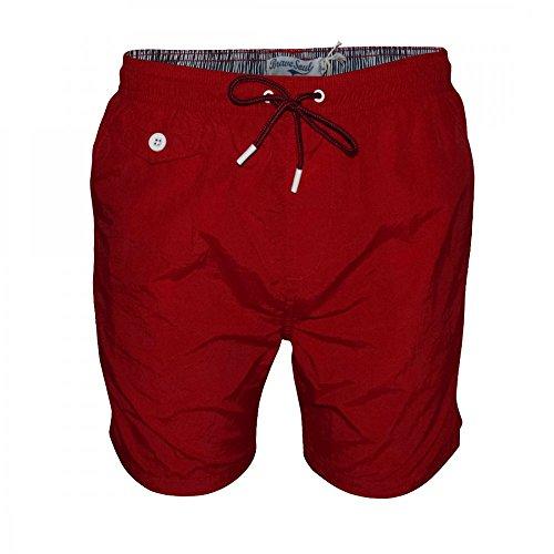 Brave Soul Herren Taslan Shore Badehose Elastische Pier Shorts - Rot, L