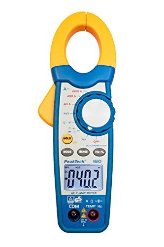 PeakTech 1000A AC Pinza amperimétrica/multímetro–3999–Cifras con continuidad/Voltímetro/prueba de diodos/termómetro/prueba de capacidad, 1pieza, P 1610