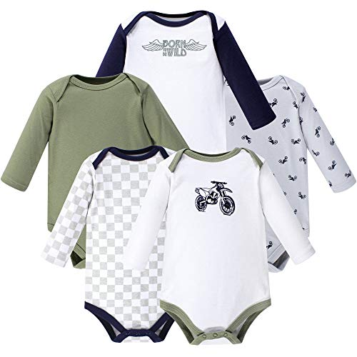 Hudson Baby Unisex Baby Cotton Long-sleeve Bodysuits, Dirt Bike, 12-18 Months US