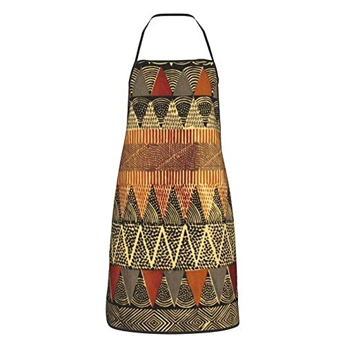 Delantal de cocina para mujeres hombres con bolsillos triángulo azteca geométrica delantales cocinero hornear jardinería barbacoa parrilla pintura negro