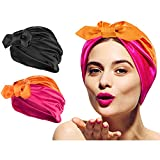 2pcs Non-slip Elastic Silk Bonnet Sleep Cap for Woman Girl Curly Long Hair