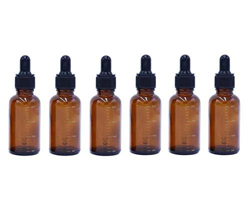 VASANA 6 botellas de 30 ml, 1 onza, rellenables, de ámbar, graduadas, con gotero de pipeta de cristal, dispensador de aceite esencial vacío, perfumes, cosméticos y líquidos, frascos