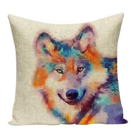 NO BRAND Funda de cojín nórdico de Moda Elk Bear Wolf Design Lino Algodón Sofá casero Almohada D