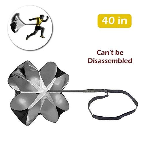 TRIWONDER Entrenamiento de Velocidad Paracaídas de 40/56 Pulgadas Paraguas de Resistencia a Velocidad para Fútbol Correr (Negro - 40 Pulgadas)