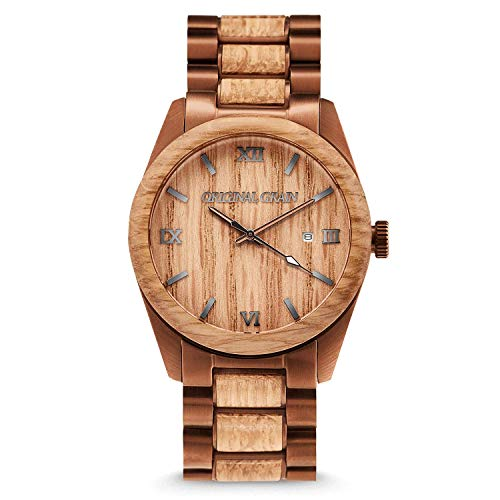 Original Grain Whiskey Espresso Wood Watch - Classic Collection Analog Watch - Japanese Quartz Movement - Wood and Brushed Espresso Stainless Steel - Water Resistant - Wrist Watch for Men - 43MM