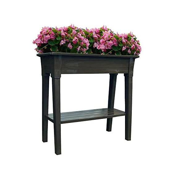 Adams Manufacturing 9303-60-3700 36-Inch Deluxe Garden Planter, Earth Brown 3 Deluxe garden planter Raised so it is easy on your back and knees Removable legs and shelf for easy winter storage, easy open drainage hole