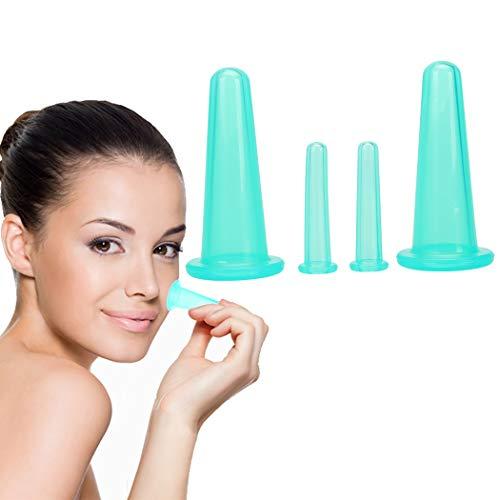 Kapmore 4pcs ventouses set oil de silicone et visage vide massage kit de coupe tasse de thérapie
