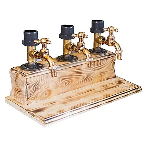 Dispensador De Madera para Whisky Dispensador De Whisky Decantador, Dispensador De Madera para Whisky Forma De Grifo para Cenas De Fiesta, para Cenas De Fiestas,Three