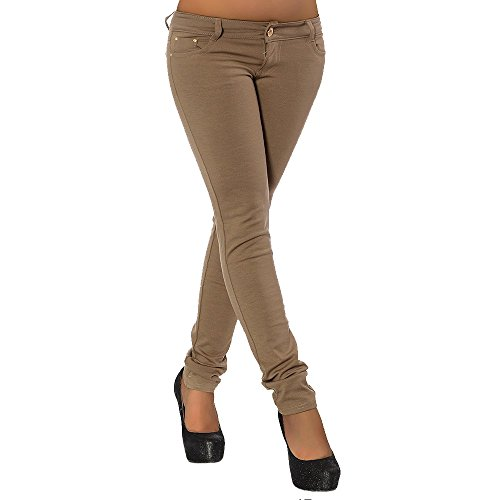 G701 Damen Jeans Look Hose Röhre Leggings Leggins Treggings Skinny Jeggings, Größen:36 (S), Farben:Coffee