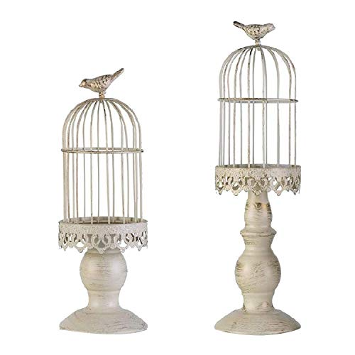 Suading Birdcage Candle Holder,Vintage Candlestick Holder Holders,Wedding Candle Centerpieces for Tables, Iron Home Decor,S + L