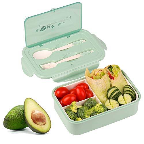 KATELUO Brotdose Lunch Boxen,Bento Box Kinder Auslaufsichere 3 Fächern,mit ein Löffel und Gabel,Mikrowelle Heizung (Grün)