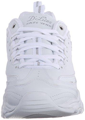 Skechers Women's D'Lites Memory Foam Lace-up Sneaker,White Silver,7.5 M US