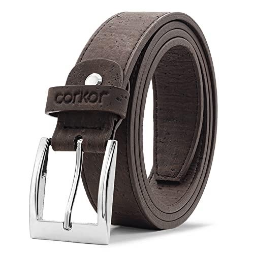 Corkor Cinturón para Hombre Con Hebilla Plateada Vegano de Corcho