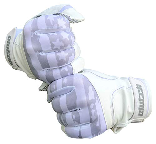 Clutch Sports Apparel Baseball and Softball Batting Gloves - Whiteout Flag w/Multicolor Grip, Adult X-Large
