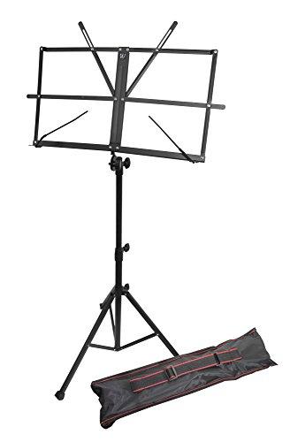 Windsor Soporte de partituras plegable ajustable de pie con maletín de plástico, color Negro