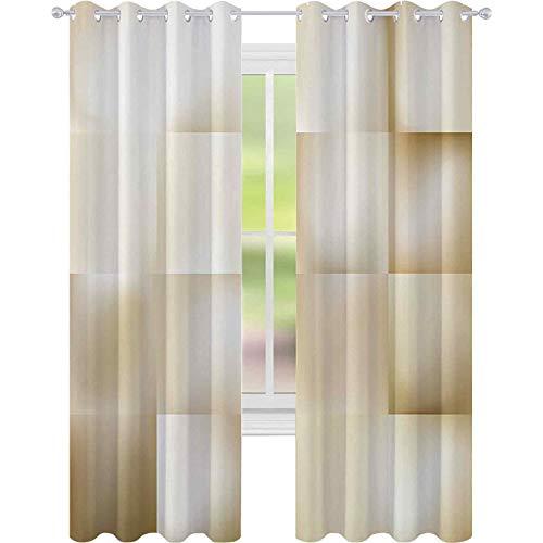 Cortinas opacas para dormitorio, diseño geométrico fractal con forma abstracta, de color sombrero, 52 x 108, cortina opaca para sala de estar, color beige crema
