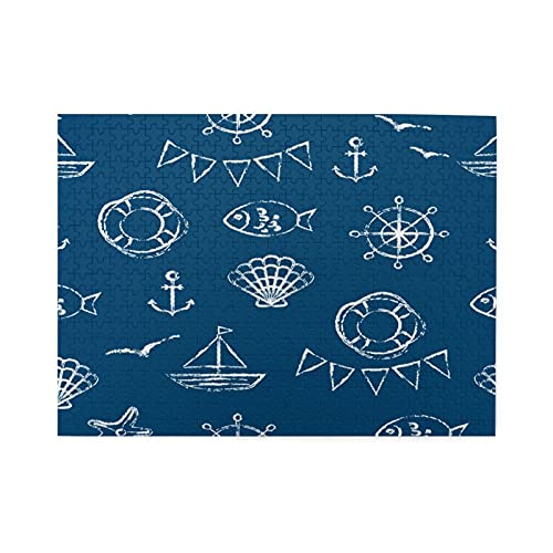 GEHIYPA 500-Piece Puzzle,Anchor Fish Boat Shell Gull Starfish In White On Navy Blue Background,Large Family Puzzle Game Artwork for Adults Teens