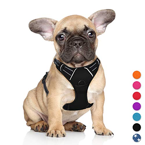 BARKBAY No Pull Dog Harness Step in Reflective Dog Harness with Front Clip and Easy Control Handle for Walking Training Running for Small Dog(Black,S)