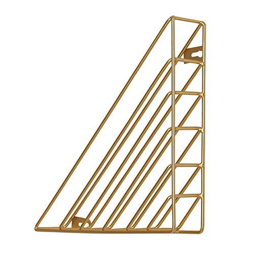 Triangle Metal Book Shelf, Wall Mounted Bookshelf Hanging Storage Rack Shelves for Holding and Displaying Magazines, Newspapers, File Folders, etc.