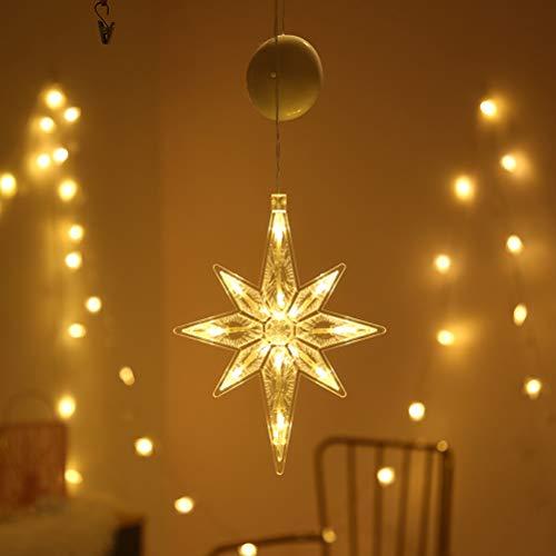 zuoshini Fenster Saugnapf Lampe LED Führte Vorhang Hängen Licht Weihnachtsbäume Hirsch Glocke Stern Santa Hängende Girlande Licht Wand Dekorative Hof Fensterdeko Fensterdekoration