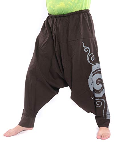 jing shop Harem Pants - Cotton One Size with Swirl Print Unisex for Men and Women Hippie Boho Chic Maroon